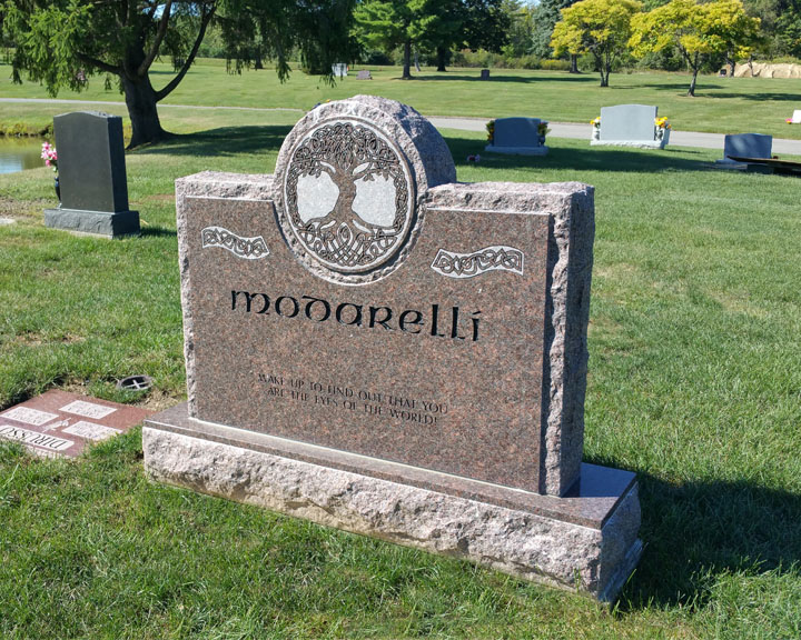 small upright memorial headstone