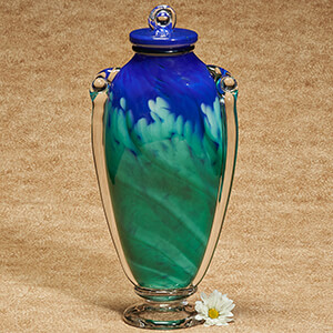 Hand blown glass urn